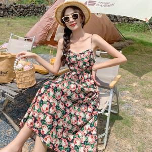 YF54751# 碎花短袖连衣裙新款夏季玫瑰花温柔风法式显瘦复古吊带裙子女 服装批发女装直播货源