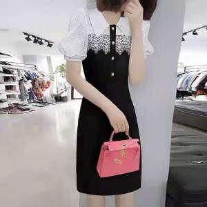 YF50806# 新款欧货轻熟风黑色蕾丝拼接修身a字连衣裙 服装批发女装直播货源