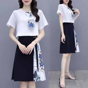 YF50547# 设计感T恤半身裙套装印花拼接显瘦黑白两件套职业气质女夏 服装批发女装直播货源