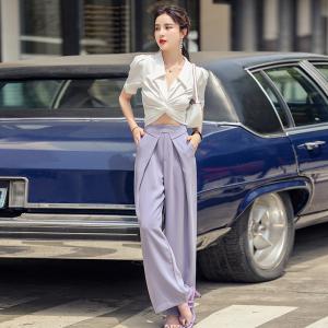YF55226# 夏季新款法式套装系带扭结上衣+折叠腰阔腿裤长裤两件套 服装批发女装直播货源