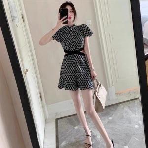 YF67760# 夏季韩版薄款连体衣女装显瘦休闲时髦波点套装连体裤女夏短裤