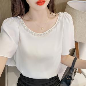 YF52766# 夏季新款珍珠边圆领上衣韩版气质短袖衬衫 服装批发女装直播货源