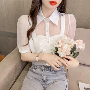 YF52767# 时尚气质假两件拼接网纱泡泡袖网红衬衫 服装批发女装直播货源