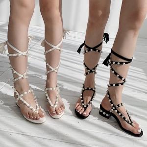 X-25722# 珍珠罗马凉鞋夹趾凉鞋珍珠电镀方跟又一波杀到2色做35-40码 鞋子批发女鞋货源