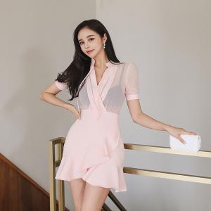 YF51343# 夏季新款韩版修身雪纺拼接荷叶连衣裙 服装批发女装直播货源