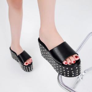 X-25660# 超高跟坡跟松糕一字铆钉拖鞋34-40码 鞋子批发女鞋货源
