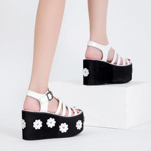 X-25661# 松糕厚底超高跟拼色罗马包头凉鞋34-40码 鞋子批发女鞋货源