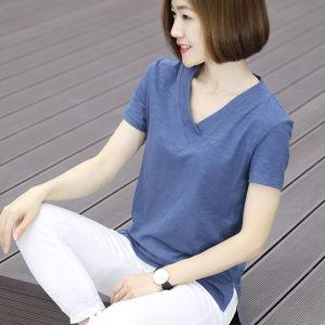 CX6676# 最便宜服装批发 纯棉v领短袖女装T恤衫韩版宽松大码t恤显瘦上衣