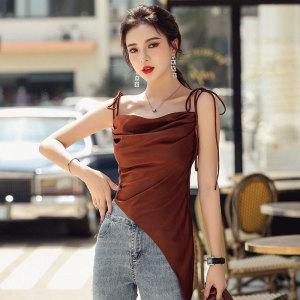 YF55227# 夏季新款一字肩缎面不规则系带单件吊带背心女褶皱上衣女 服装批发女装直播货源