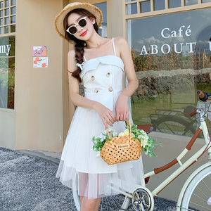 YF54741# 夏季新款韩版网纱拼接设计感吊带裙女气质高腰超仙减龄连衣裙 服装批发女装直播货源