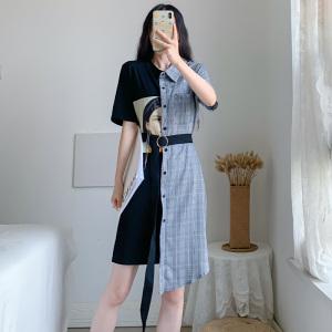 YF52044# 夏季新款大码女装胖mm宽松显瘦遮肚子减龄拼接连衣裙 服装批发女装直播货源