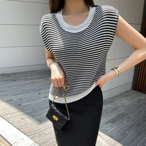 YF53214# chic链条宽松条纹针织衫 服装批发女装直播货源