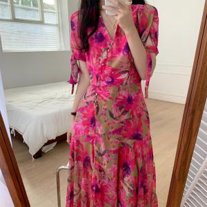 YF52045# 夏季新款大码女装胖妹妹显瘦收腰气质花纺连衣裙 服装批发女装直播货源
