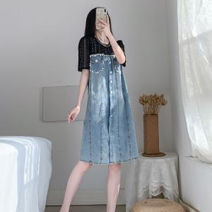 YF52046# 夏季新款大码女装胖妹妹宽松显瘦减龄蕾丝拼接牛仔裙 服装批发女装直播货源