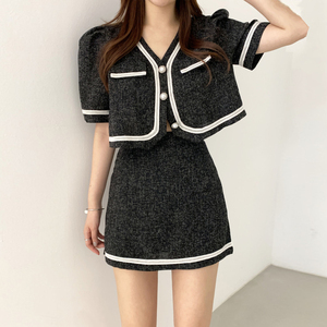YF53215# chic夏季拼色粗花呢两件套 服装批发女装直播货源