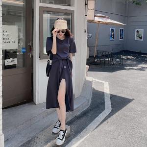 YF52788# 懒人套装 休闲两件套上衣+左开叉半身裙 服装批发女装直播货源