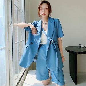 YF59120# 短袖西装外套女夏季薄款小众设计感高级炸街小西服套装