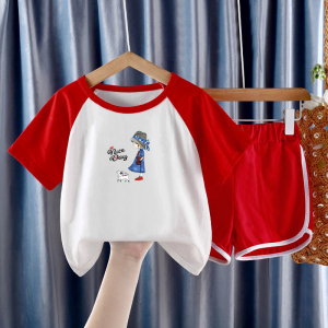 CX6846# 最便宜服装批发 夏季短袖套装夏装新款儿童纯棉上衣短裤休闲两件套潮