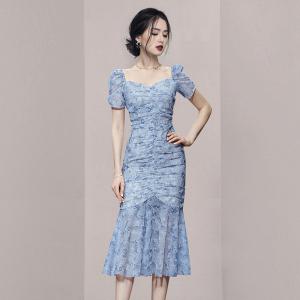 YF52607# 新款女装时尚气质优雅抽褶泡泡袖拼接印花连衣裙 服装批发女装直播货源