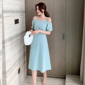YF57308# 夏季新款温柔甜美显瘦珍珠露肩吊带连衣裙 服装批发女装直播货源