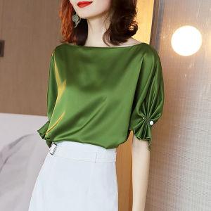 YF53686# 真丝短袖女夏季2021新款缎面桑蚕丝T恤衬衫一字领上衣设计感小众