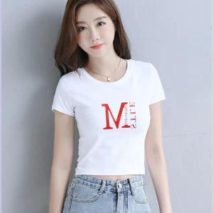 CX6685# 最便宜服装批发 纯棉短袖短款t恤女修身时尚韩版高腰显瘦上衣