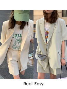 YF62008# 夏季薄款短袖西装外套女+西装短裤套装休闲宽松小西装两件套