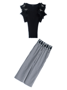 YF54706# 荷叶边露肩蝴蝶结针织短袖+高腰直筒格子裤套装女夏季新 服装批发女装直播货源