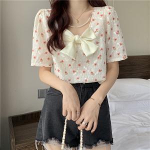 YF54258# 小仙女衬衫新款设计感珍珠链蝴蝶结前后两穿短袖上衣 服装批发女装直播货源