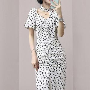 YF55233# 新款女装收腰显瘦包臀气质中长款连衣裙 服装批发女装直播货源