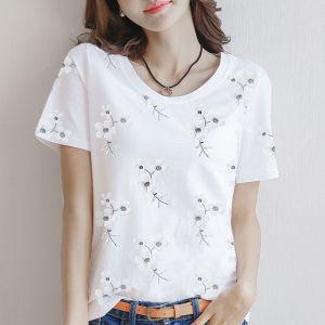 CX6689# 最便宜服装批发 韩版印花短袖T恤女纯棉宽松百搭圆领女装上衣洋气
