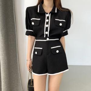 YF53220# chic复古撞色纽扣两件套 服装批发女装直播货源