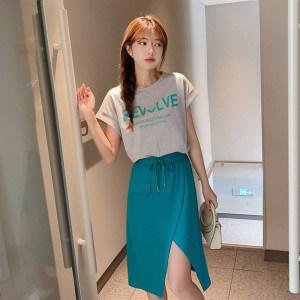 YF53193# 休闲套装女夏新款女装圆领字母印花开叉半身裙时尚两件套女 服装批发女装直播货源
