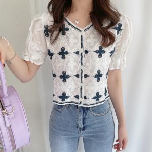 YF53222# chic粗提花刺绣开衫上衣 服装批发女装直播货源