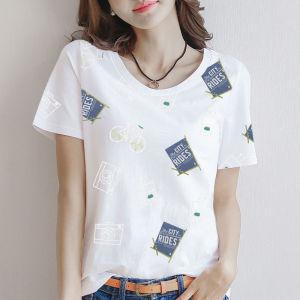 CX6693# 最便宜服装批发 纯棉短袖印花T恤女洋气宽松休闲半袖内搭上衣潮