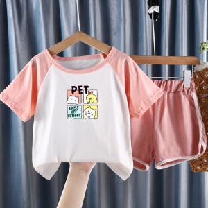 CX6843# 最便宜服装批发 中大童夏装新款男童女童纯棉儿童短袖休闲宝宝宽松套装