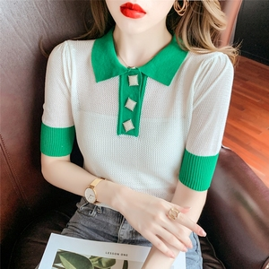 YF54263# Polo领拼色镂空针织衫短袖T恤女夏韩版冰丝薄款百搭洋气上衣 服装批发女装直播货源