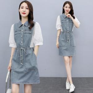 RS28376#韩版宽松小个子牛仔连衣裙女夏新款法式拼接收腰显瘦衬衫裙子