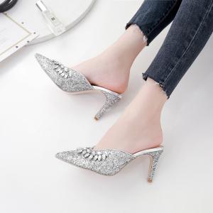 X-25720# 秋鞋水钻尖头高大上女士拖鞋2色35-40码 鞋子批发女鞋货源