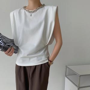YF53966# 欧美夏季新款设计感链条垫肩圆领t恤女百搭显瘦无袖背心上衣潮ins 服装批发女装直播货源
