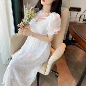 YF57953# 夏法式初恋桔梗仙女裙chic温柔风小个子长款连衣裙 服装批发女装直播货源