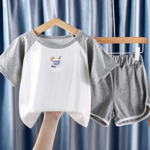 CX6840# 最便宜服装批发 儿童装男童女童夏装套装新款夏季短袖网红时髦洋气宝宝潮衣