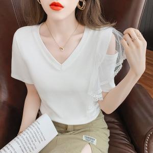 YF53666# 夏季新款露肩拼接纯色心机T恤女韩范仙小众百搭显瘦短袖 服装批发女装直播货源