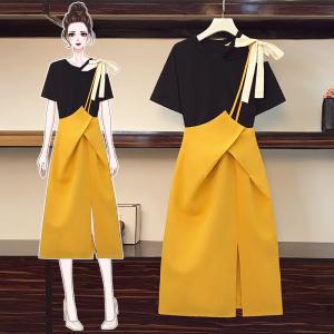 YF57926# 大码女装夏季新款胖妹妹洋气减龄显瘦t恤上衣连衣裙套装 服装批发女装直播货源