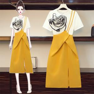 YF57927# 大码女装夏装新款微胖妹妹时尚显瘦可盐可甜连衣裙套装 服装批发女装直播货源