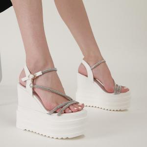 X-25665# 坡跟超高跟水钻细带凉鞋34-40码 鞋子批发女鞋货源