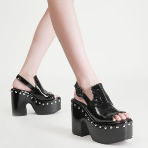 X-25664# 粗跟防水台高跟铆钉鱼嘴凉鞋34-43码 鞋子批发女鞋货源