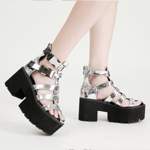 X-25663# 松糕厚底罗马银色镂空凉靴凉鞋34-40码 鞋子批发女鞋货源