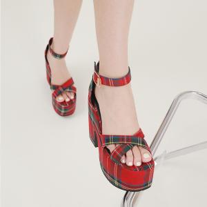 X-25662# 粗跟厚底高跟格子凉鞋34-43码 鞋子批发女鞋货源