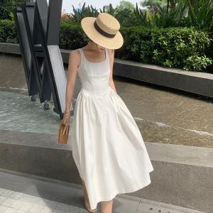 YF55697# 新款女温柔风白色气质赫本风背心裙法式长款吊带连衣裙子夏季 服装批发女装直播货源
